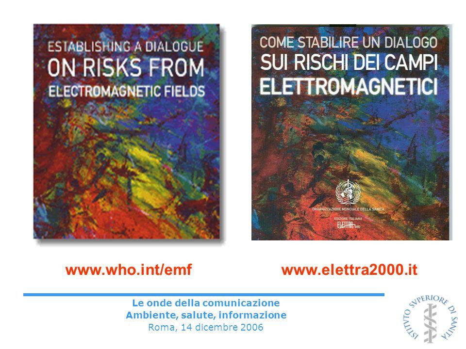 Le onde della comunicazione Ambiente, salute, informazione Roma, 14 dicembre 2006 www.who.int/emf www.elettra2000.it