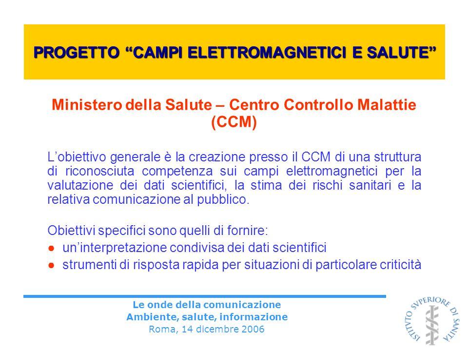 Le onde della comunicazione Ambiente, salute, informazione Roma, 14 dicembre 2006 PROGETTO CAMPI ELETTROMAGNETICI E SALUTE Ministero della Salute – Ce