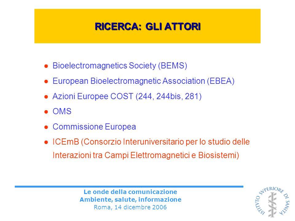 Le onde della comunicazione Ambiente, salute, informazione Roma, 14 dicembre 2006 RICERCA: GLI ATTORI Bioelectromagnetics Society (BEMS) European Bioe