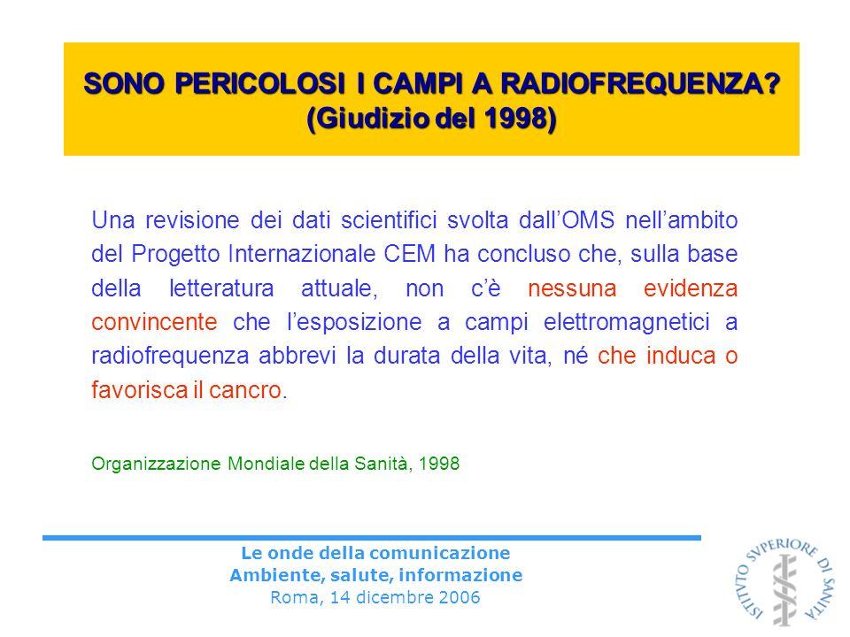 Le onde della comunicazione Ambiente, salute, informazione Roma, 14 dicembre 2006 SONO PERICOLOSI I CAMPI A RADIOFREQUENZA? (Giudizio del 1998) Una re