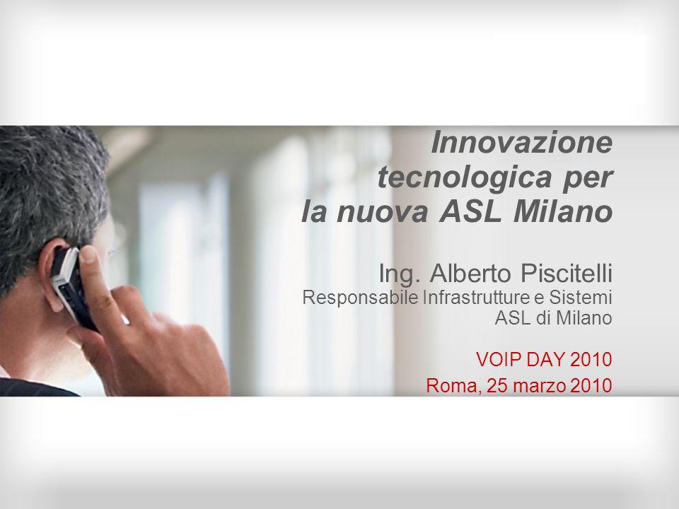 Innovazione tecnologica per la nuova ASL Milano Ing. Alberto Piscitelli Responsabile Infrastrutture e Sistemi ASL di Milano VOIP DAY 2010 Roma, 25 mar