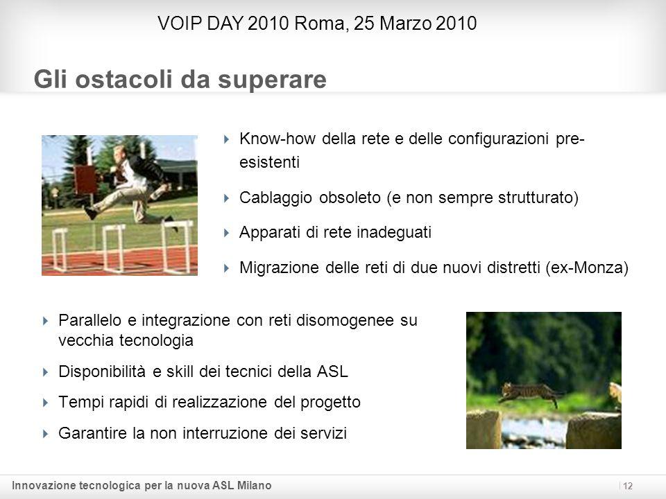 Innovazione tecnologica per la nuova ASL Milano 12 Gli ostacoli da superare Know-how della rete e delle configurazioni pre- esistenti Cablaggio obsole