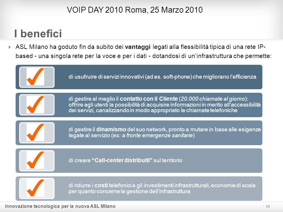Innovazione tecnologica per la nuova ASL Milano I benefici ASL Milano ha goduto fin da subito dei vantaggi legati alla flessibilità tipica di una rete