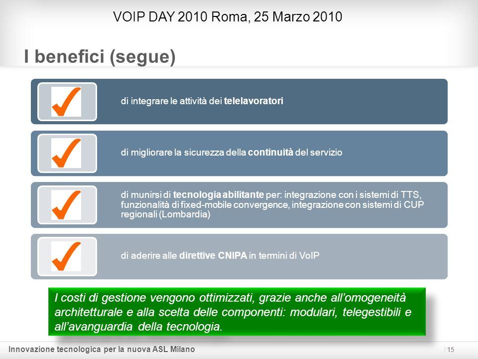 Innovazione tecnologica per la nuova ASL Milano 15 I benefici (segue) VOIP DAY 2010 Roma, 25 Marzo 2010 I costi di gestione vengono ottimizzati, grazi