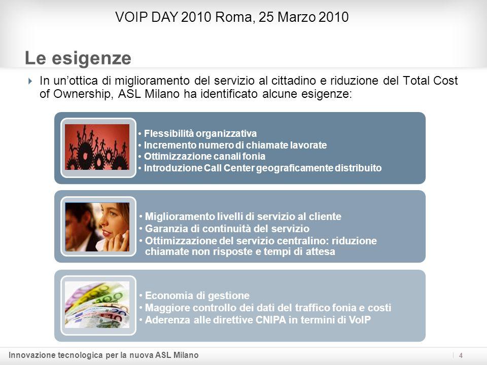 Innovazione tecnologica per la nuova ASL Milano 15 I benefici (segue) VOIP DAY 2010 Roma, 25 Marzo 2010 I costi di gestione vengono ottimizzati, grazie anche allomogeneità architetturale e alla scelta delle componenti: modulari, telegestibili e allavanguardia della tecnologia.