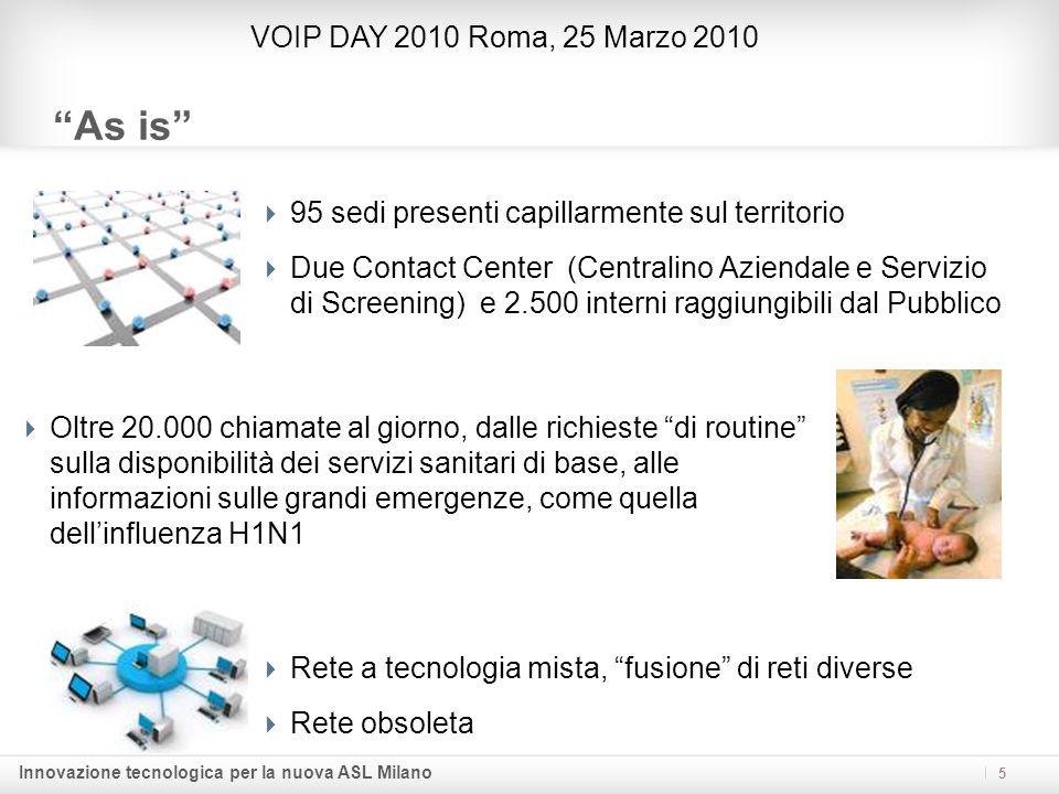 Innovazione tecnologica per la nuova ASL Milano 5 As is VOIP DAY 2010 Roma, 25 Marzo 2010 95 sedi presenti capillarmente sul territorio Due Contact Ce