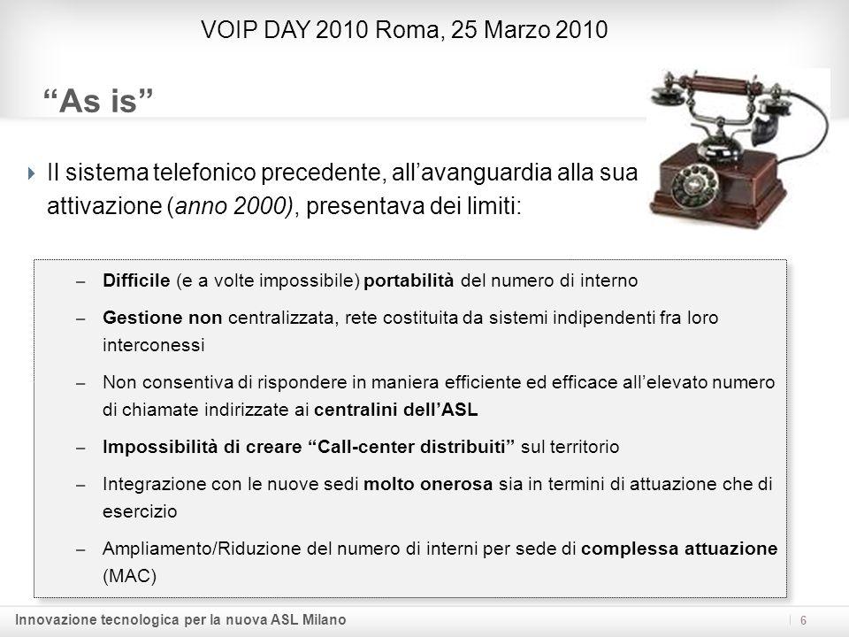Innovazione tecnologica per la nuova ASL Milano As is Il sistema telefonico precedente, allavanguardia alla sua attivazione (anno 2000), presentava de