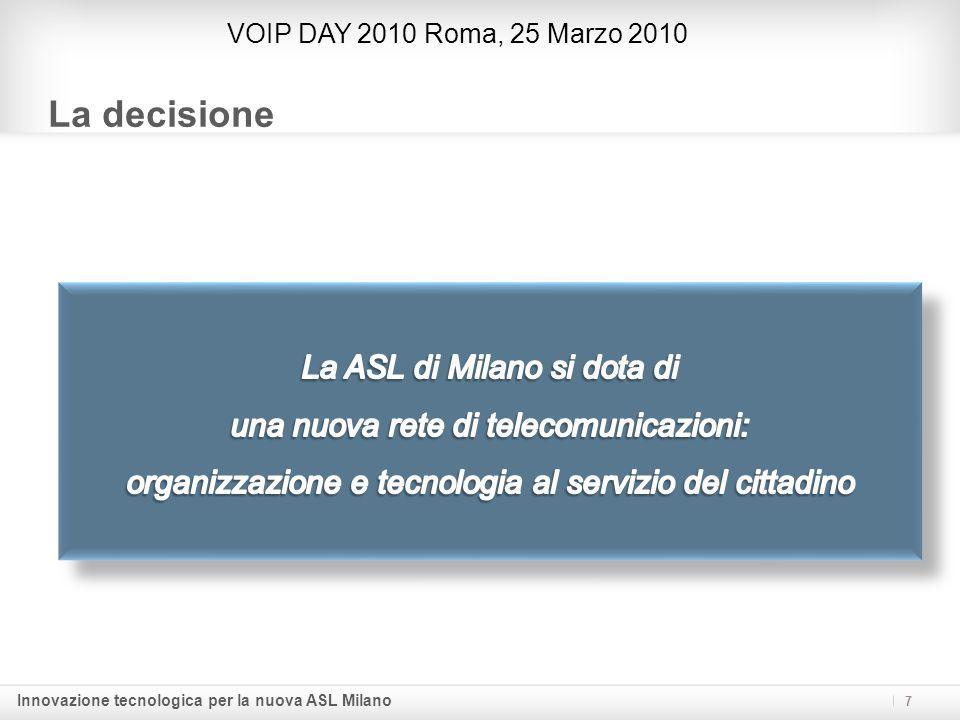 Innovazione tecnologica per la nuova ASL Milano Le Linee Guida VOIP DAY 2010 Roma, 25 Marzo 2010 7 Flessibilità e vantaggi di una soluzione IP-based: semplicità di una rete Convergente, una singola rete sia per la voce che per i dati.