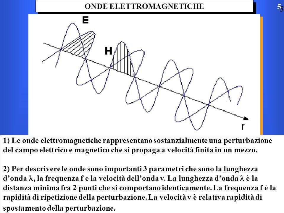 ONDE ELETTROMAGNETICHE 1) Le onde elettromagnetiche rappresentano sostanzialmente una perturbazione del campo elettrico e magnetico che si propaga a velocità finita in un mezzo.