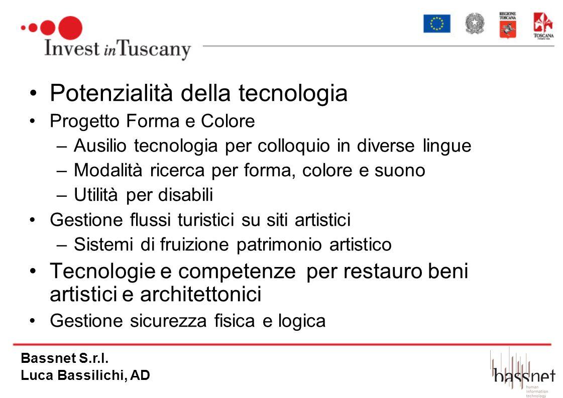 Potenzialità della tecnologia Progetto Forma e Colore –Ausilio tecnologia per colloquio in diverse lingue –Modalità ricerca per forma, colore e suono