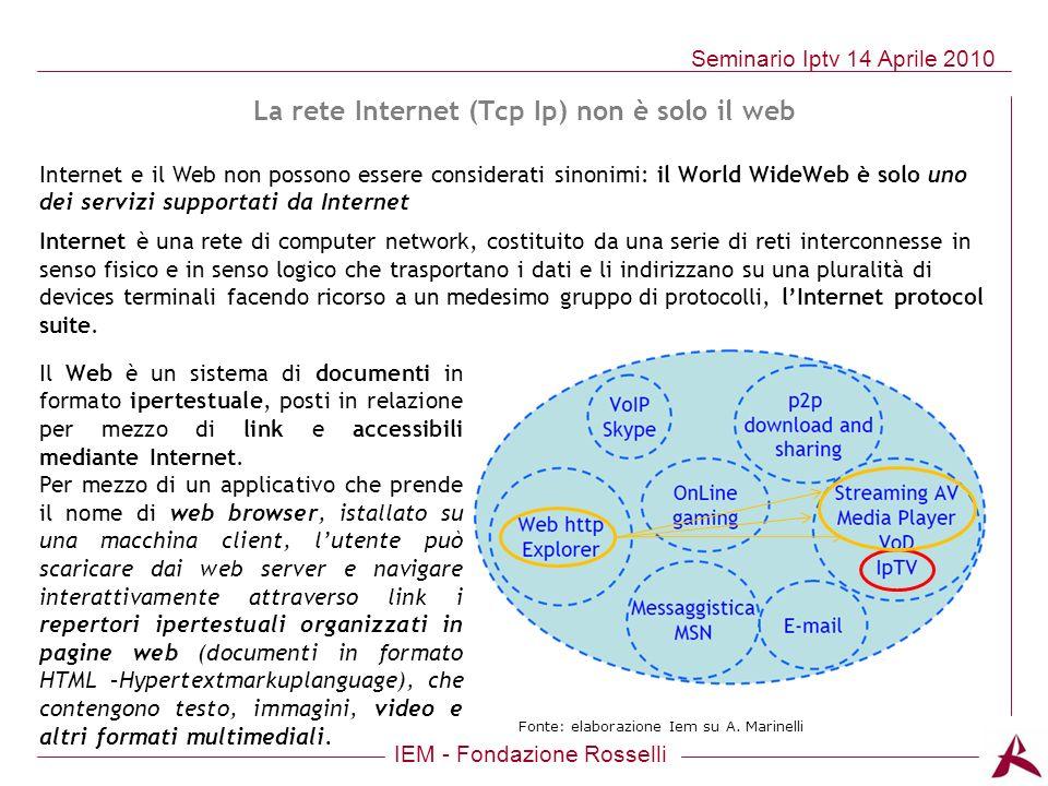 IEM - Fondazione Rosselli Seminario Iptv 14 Aprile 2010 La rete Internet (Tcp Ip) non è solo il web Internet e il Web non possono essere considerati s