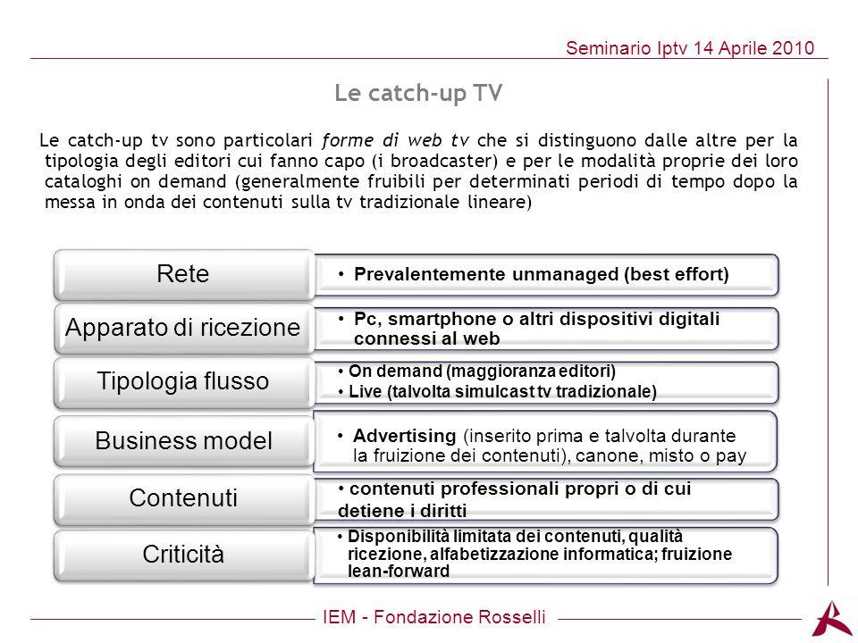 IEM - Fondazione Rosselli Seminario Iptv 14 Aprile 2010 Prevalentemente unmanaged (best effort) Rete Pc, smartphone o altri dispositivi digitali conne