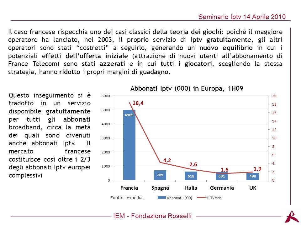 IEM - Fondazione Rosselli Seminario Iptv 14 Aprile 2010 Abbonati Iptv (000) in Europa, 1H09 Fonte: e-media. Il caso francese rispecchia uno dei casi c