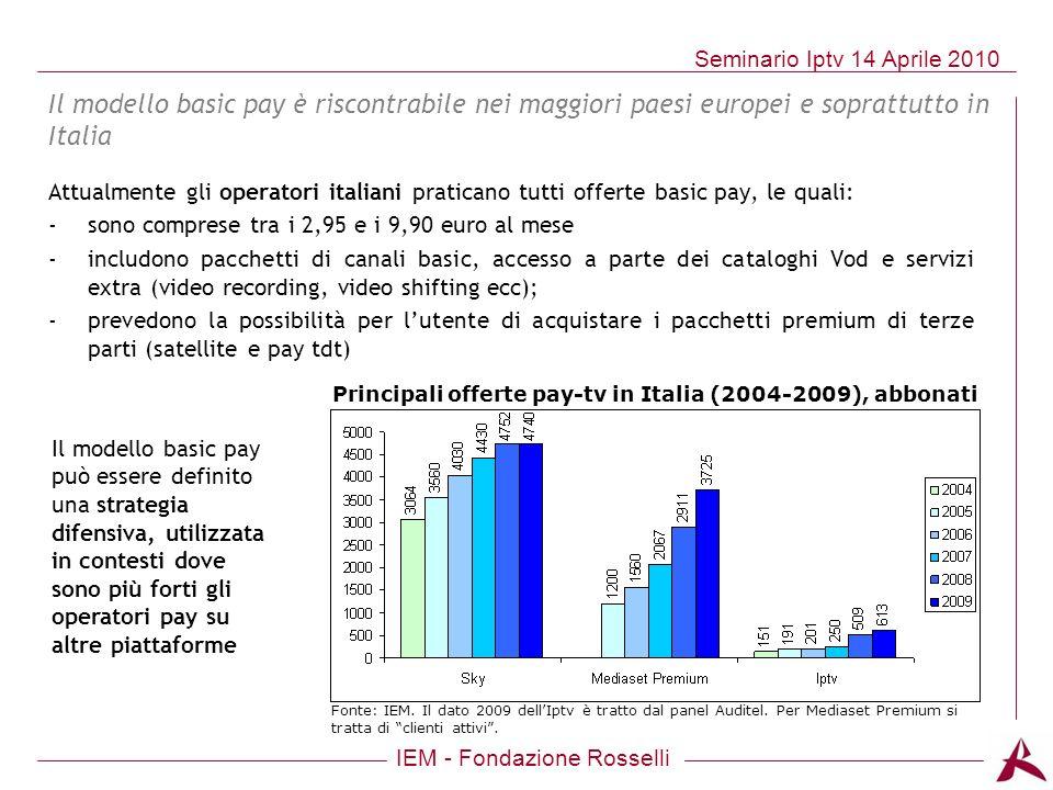 IEM - Fondazione Rosselli Seminario Iptv 14 Aprile 2010 Attualmente gli operatori italiani praticano tutti offerte basic pay, le quali: -sono comprese