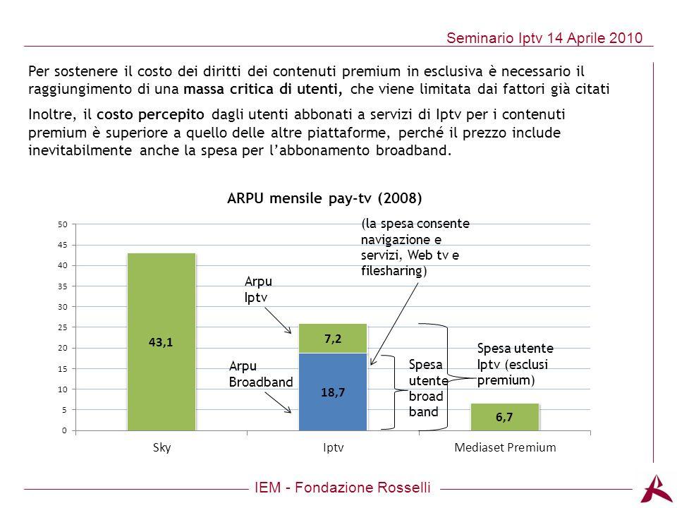 IEM - Fondazione Rosselli Seminario Iptv 14 Aprile 2010 Per sostenere il costo dei diritti dei contenuti premium in esclusiva è necessario il raggiung