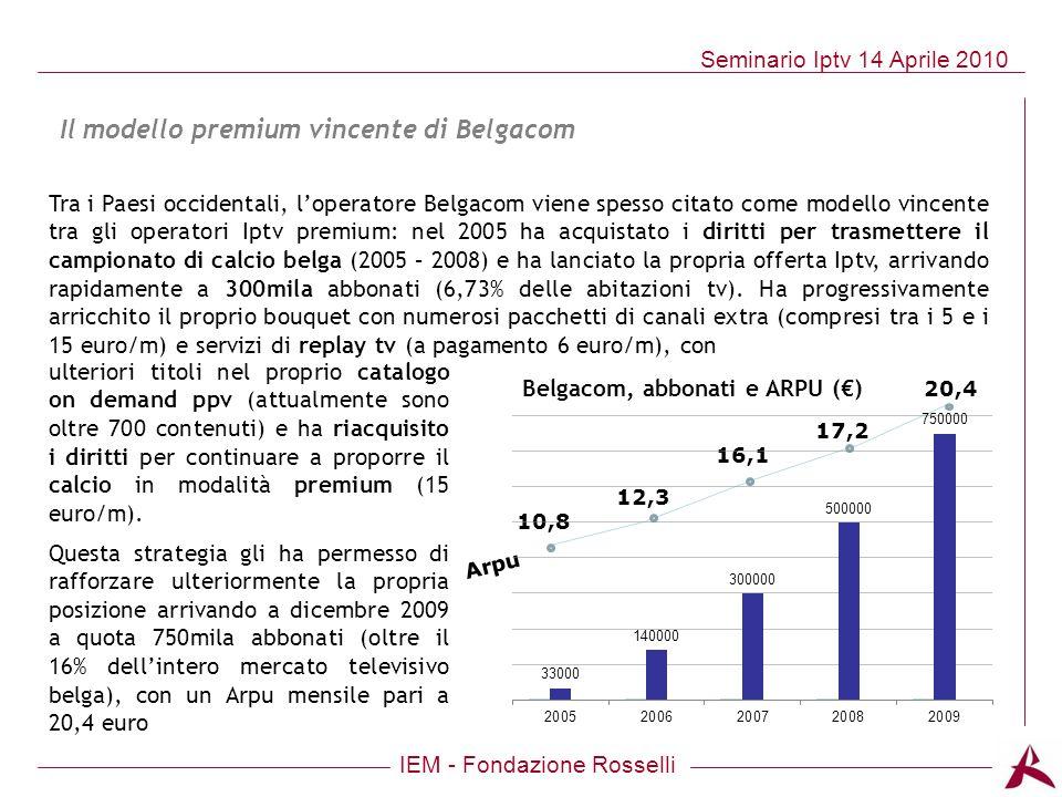 IEM - Fondazione Rosselli Seminario Iptv 14 Aprile 2010 20,4 17,2 16,1 12,3 10,8 Arpu Tra i Paesi occidentali, loperatore Belgacom viene spesso citato