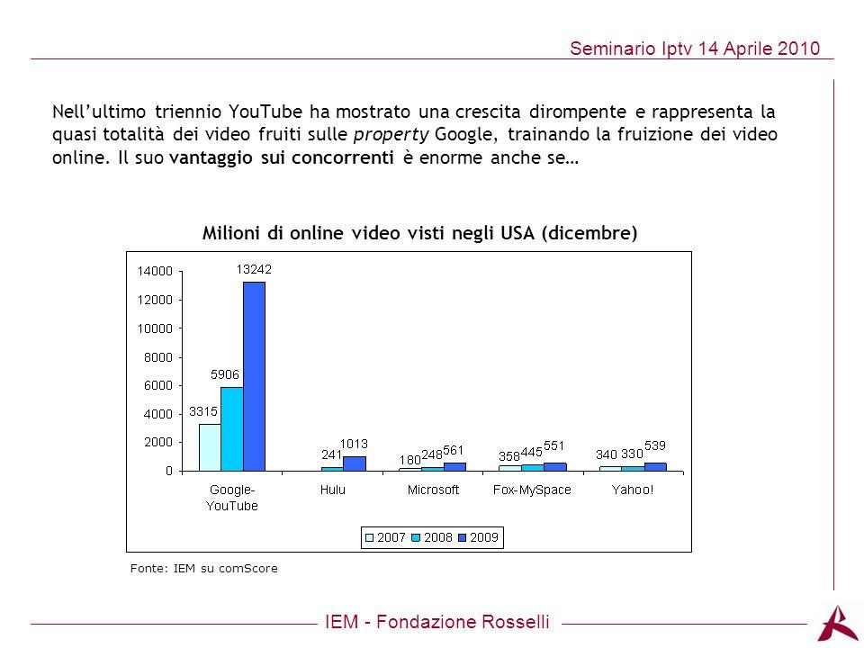 IEM - Fondazione Rosselli Seminario Iptv 14 Aprile 2010 Nellultimo triennio YouTube ha mostrato una crescita dirompente e rappresenta la quasi totalit