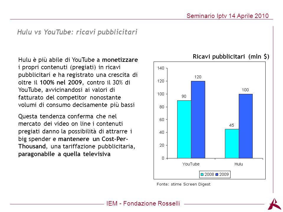IEM - Fondazione Rosselli Seminario Iptv 14 Aprile 2010 Hulu è più abile di YouTube a monetizzare i propri contenuti (pregiati) in ricavi pubblicitari
