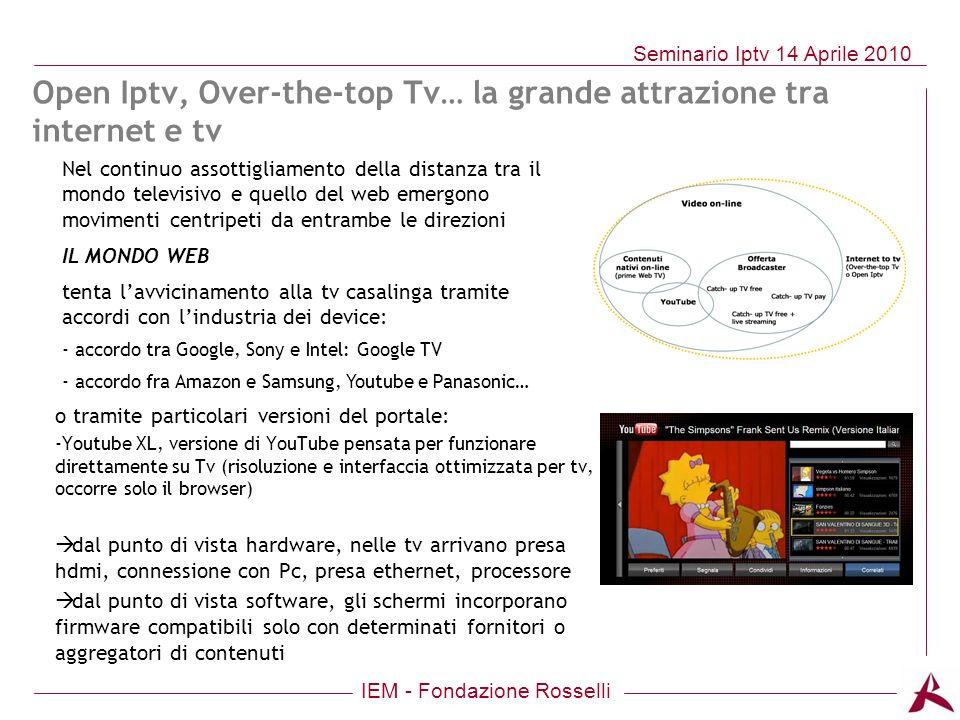 IEM - Fondazione Rosselli Seminario Iptv 14 Aprile 2010 Nel continuo assottigliamento della distanza tra il mondo televisivo e quello del web emergono