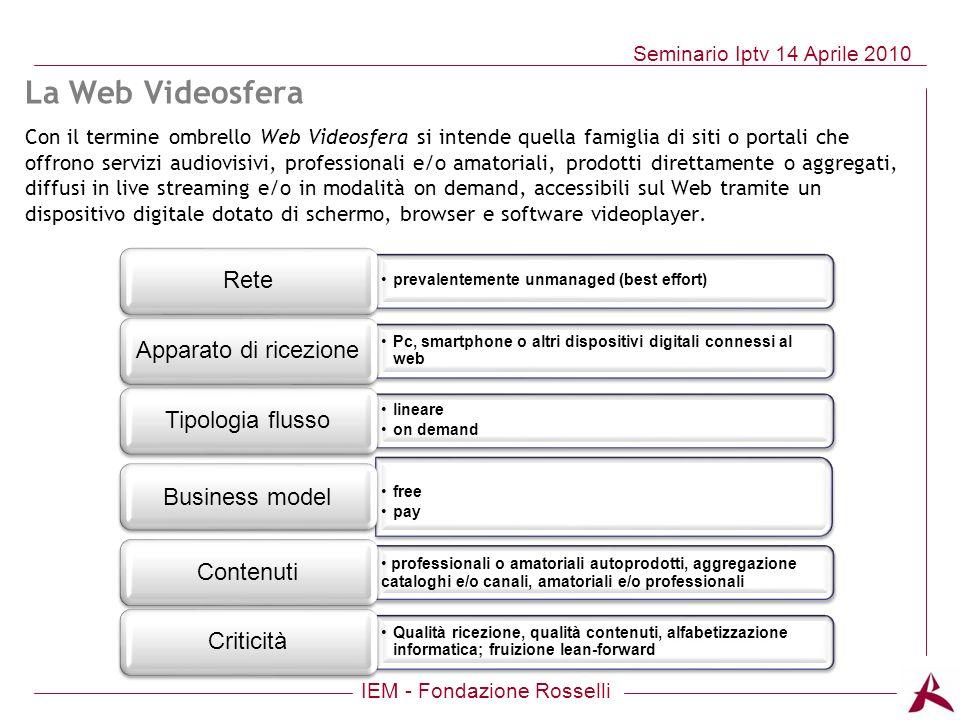 IEM - Fondazione Rosselli Seminario Iptv 14 Aprile 2010 La Web Videosfera Con il termine ombrello Web Videosfera si intende quella famiglia di siti o