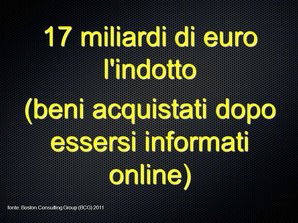 17 miliardi di euro l'indotto (beni acquistati dopo essersi informati online) fonte: Boston Consulting Group (BCG) 2011