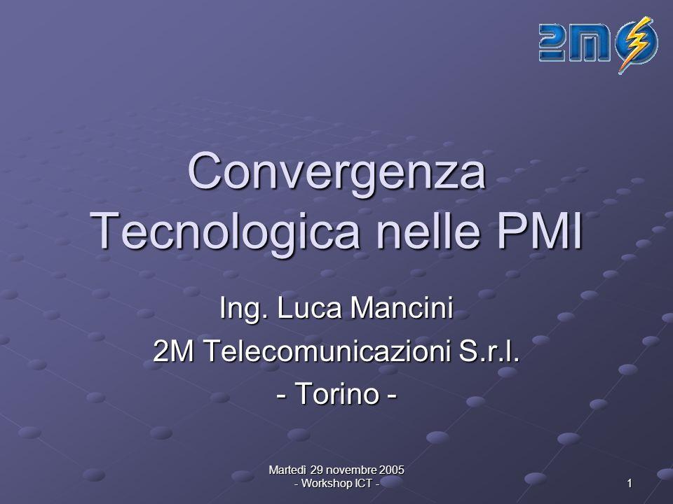 Martedì 29 novembre 2005 - Workshop ICT - 1 Convergenza Tecnologica nelle PMI Ing.
