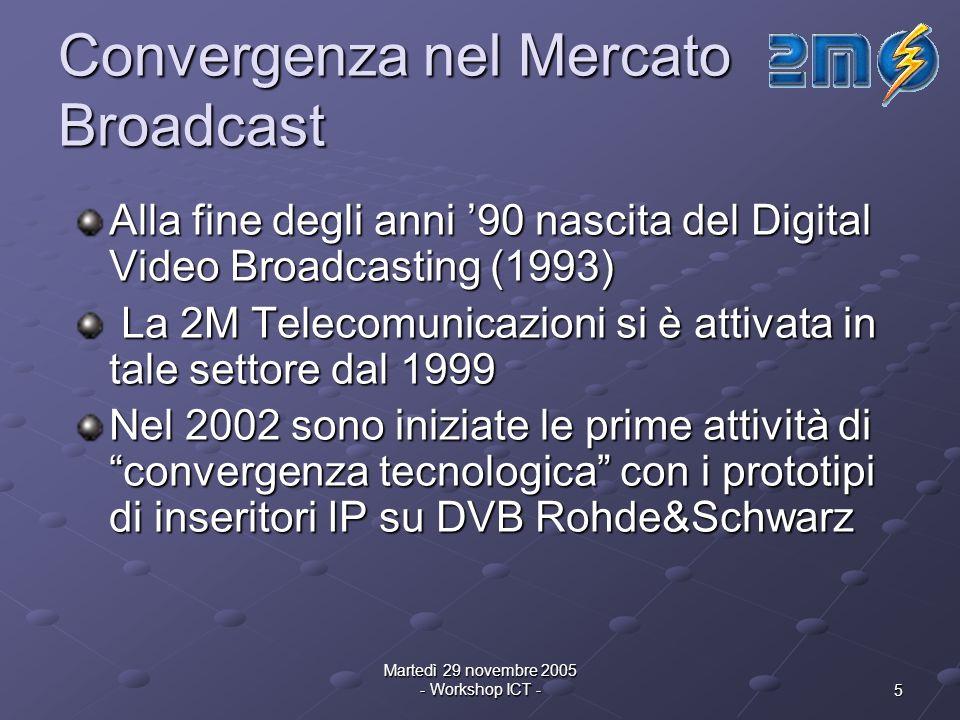 5 Martedì 29 novembre 2005 - Workshop ICT - Convergenza nel Mercato Broadcast Alla fine degli anni 90 nascita del Digital Video Broadcasting (1993) La 2M Telecomunicazioni si è attivata in tale settore dal 1999 La 2M Telecomunicazioni si è attivata in tale settore dal 1999 Nel 2002 sono iniziate le prime attività di convergenza tecnologica con i prototipi di inseritori IP su DVB Rohde&Schwarz