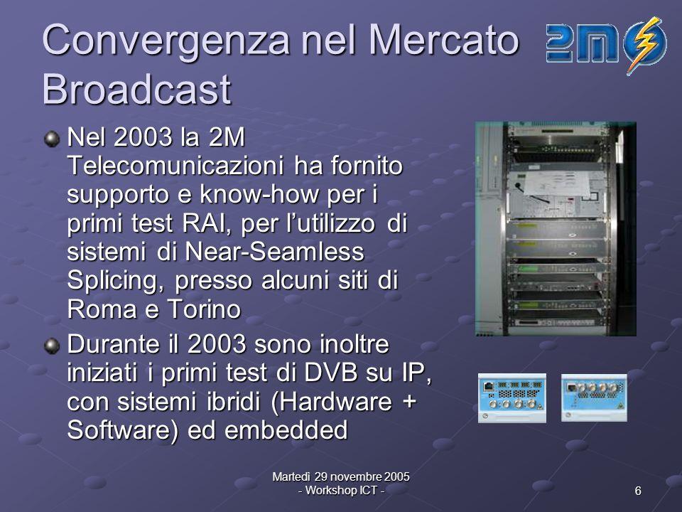 6 Martedì 29 novembre 2005 - Workshop ICT - Convergenza nel Mercato Broadcast Nel 2003 la 2M Telecomunicazioni ha fornito supporto e know-how per i primi test RAI, per lutilizzo di sistemi di Near-Seamless Splicing, presso alcuni siti di Roma e Torino Durante il 2003 sono inoltre iniziati i primi test di DVB su IP, con sistemi ibridi (Hardware + Software) ed embedded
