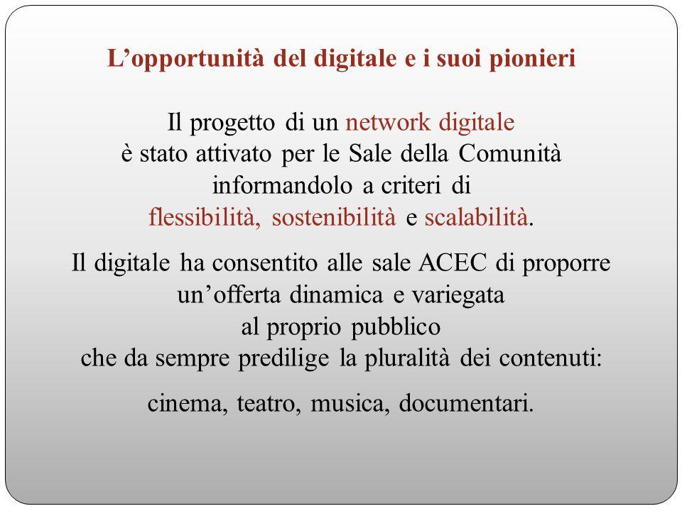 Lopportunità del digitale e i suoi pionieri Il progetto di un network digitale è stato attivato per le Sale della Comunità informandolo a criteri di flessibilità, sostenibilità e scalabilità.