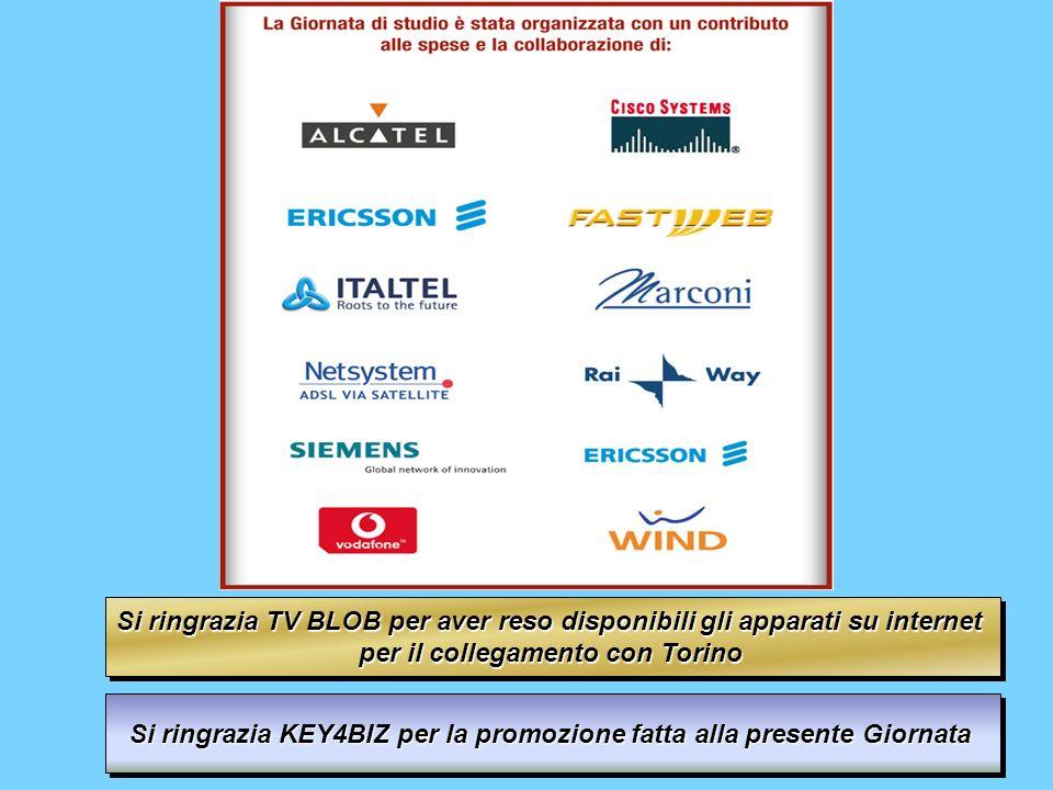 Si ringrazia TV BLOB per aver reso disponibili gli apparati su internet per il collegamento con Torino Si ringrazia TV BLOB per aver reso disponibili gli apparati su internet per il collegamento con Torino Si ringrazia KEY4BIZ per la promozione fatta alla presente Giornata