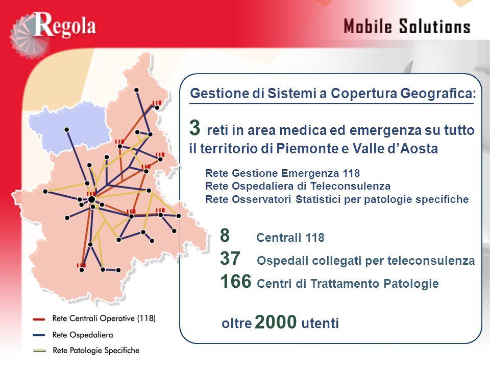 Gestione di Sistemi a Copertura Geografica: 3 reti in area medica ed emergenza su tutto il territorio di Piemonte e Valle dAosta Rete Gestione Emergen
