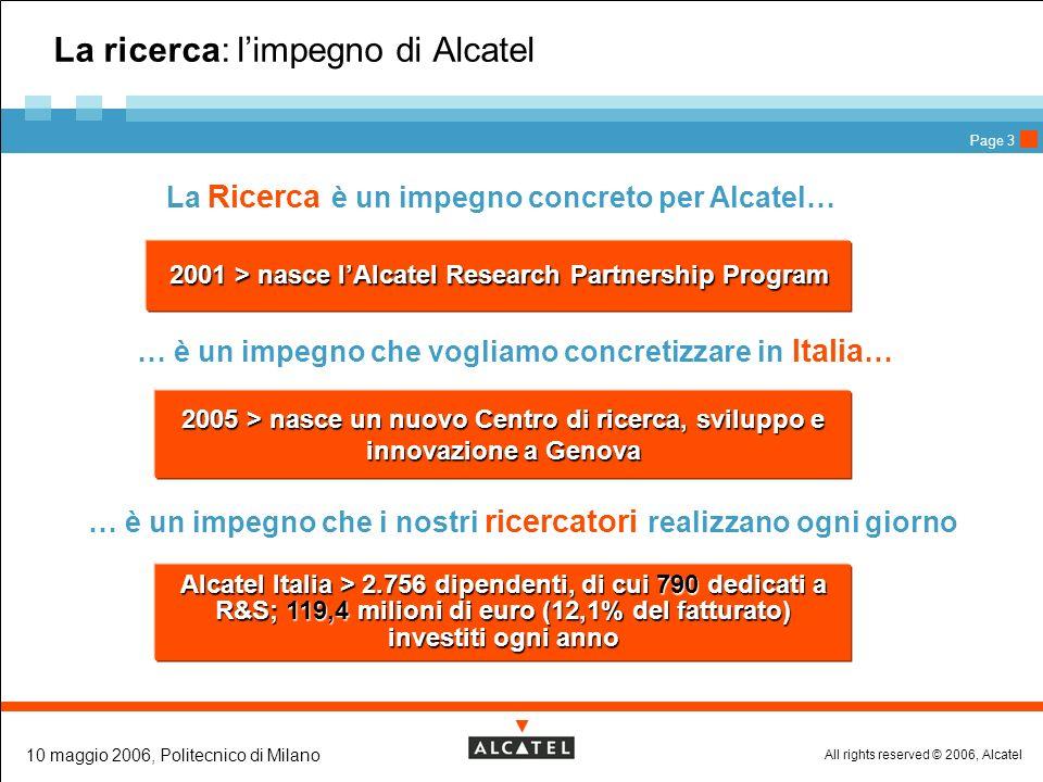 All rights reserved © 2006, Alcatel 10 maggio 2006, Politecnico di Milano Page 4 La capacità di innovare: materia prima per le aziende Se non si innova non si può essere competitivi Linnovazione è frutto di una ricerca di alto livello Ricerca -> Innovazione -> Competitività