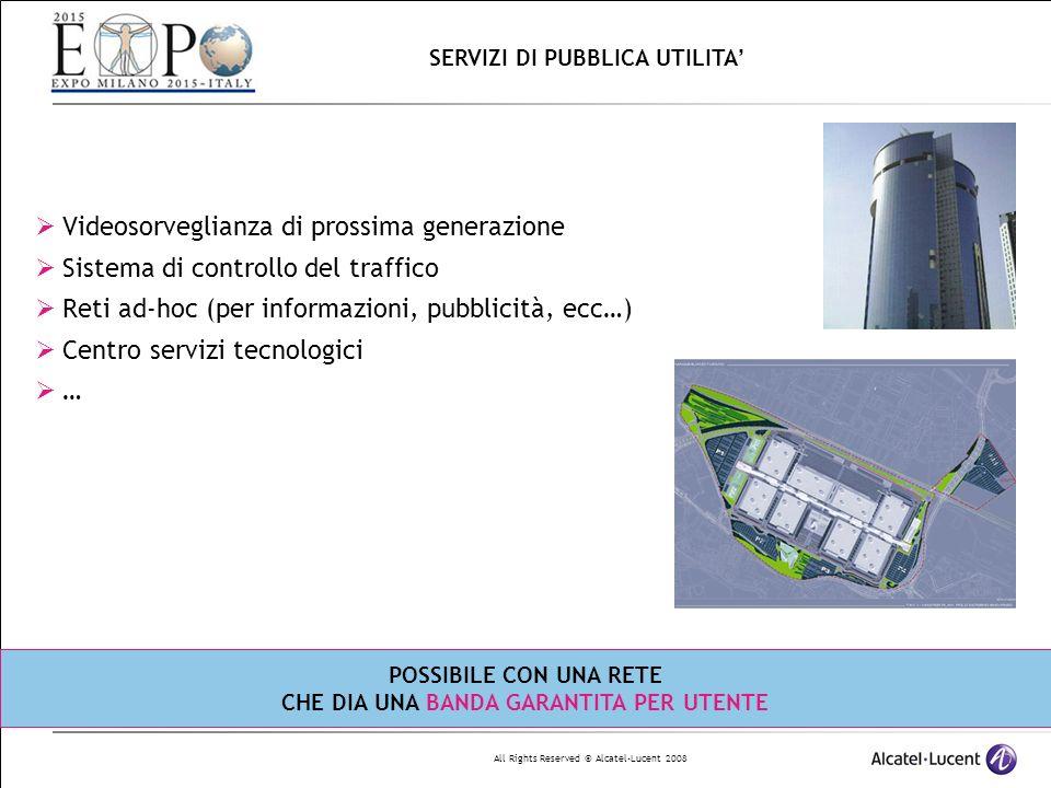 All Rights Reserved © Alcatel-Lucent 2008 Videosorveglianza di prossima generazione Sistema di controllo del traffico Reti ad-hoc (per informazioni, pubblicità, ecc…) Centro servizi tecnologici … SERVIZI DI PUBBLICA UTILITA POSSIBILE CON UNA RETE CHE DIA UNA BANDA GARANTITA PER UTENTE