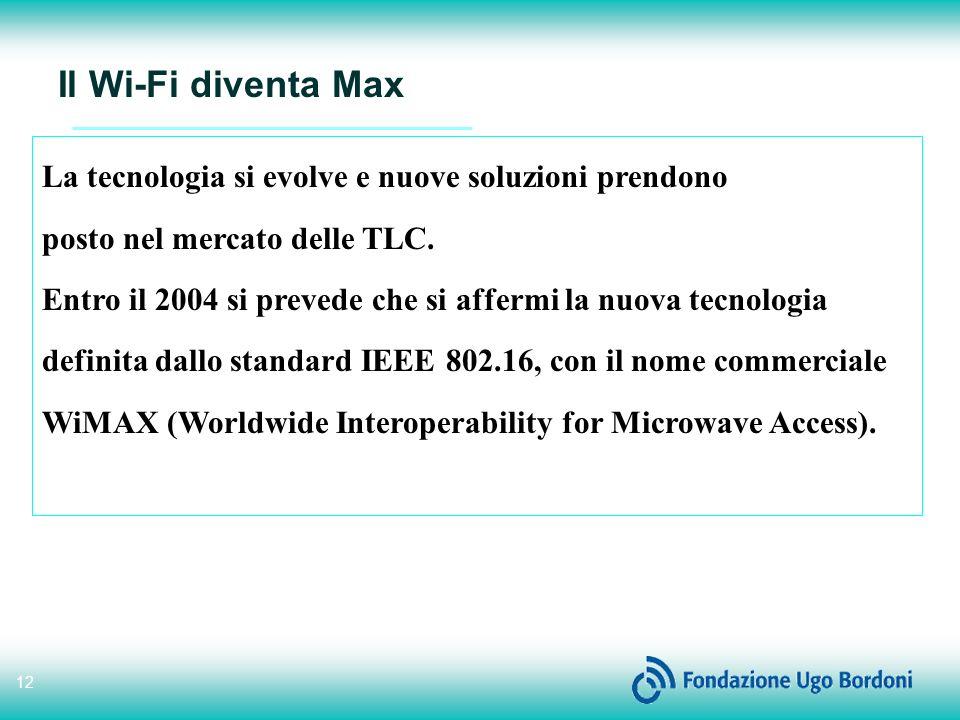 12 Il Wi-Fi diventa Max La tecnologia si evolve e nuove soluzioni prendono posto nel mercato delle TLC.