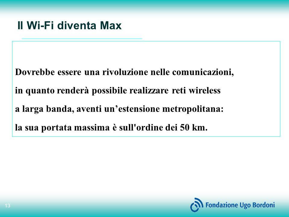 13 Il Wi-Fi diventa Max Dovrebbe essere una rivoluzione nelle comunicazioni, in quanto renderà possibile realizzare reti wireless a larga banda, aventi unestensione metropolitana: la sua portata massima è sull ordine dei 50 km.