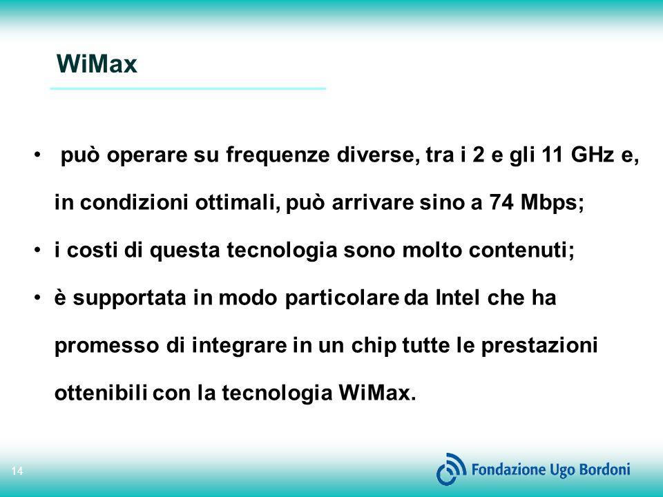 14 WiMax può operare su frequenze diverse, tra i 2 e gli 11 GHz e, in condizioni ottimali, può arrivare sino a 74 Mbps; i costi di questa tecnologia sono molto contenuti; è supportata in modo particolare da Intel che ha promesso di integrare in un chip tutte le prestazioni ottenibili con la tecnologia WiMax.