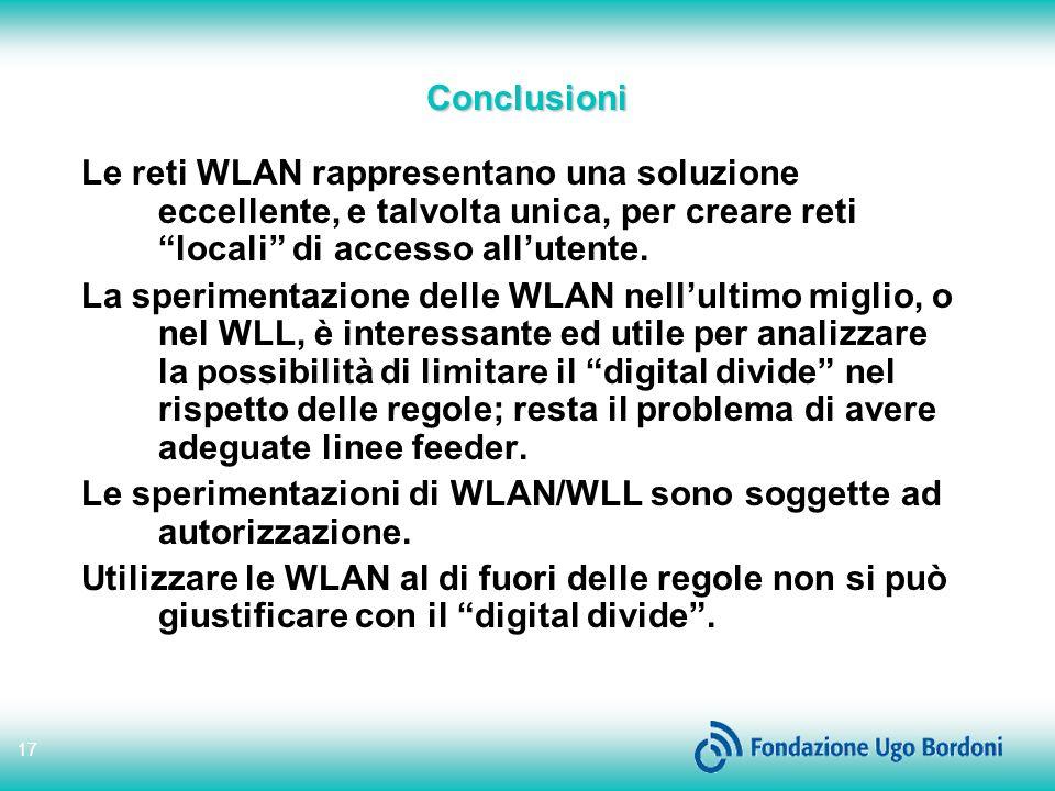 17 Conclusioni Le reti WLAN rappresentano una soluzione eccellente, e talvolta unica, per creare reti locali di accesso allutente.