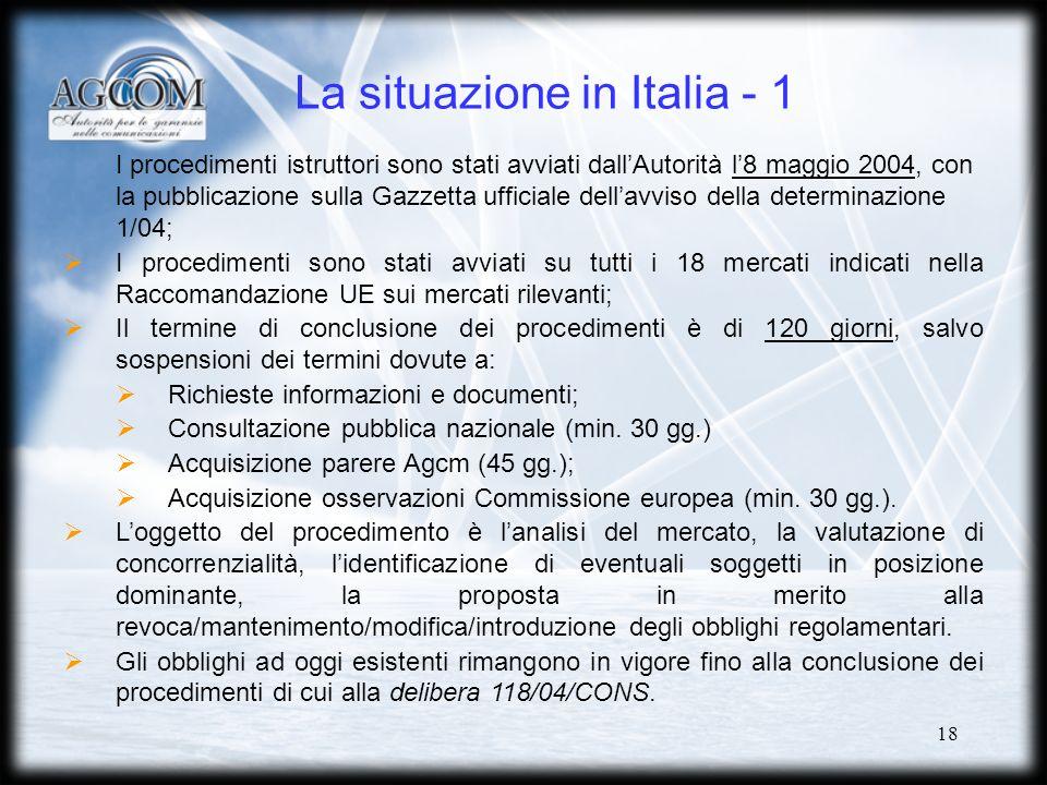 18 La situazione in Italia - 1 I procedimenti istruttori sono stati avviati dallAutorità l8 maggio 2004, con la pubblicazione sulla Gazzetta ufficiale dellavviso della determinazione 1/04; I procedimenti sono stati avviati su tutti i 18 mercati indicati nella Raccomandazione UE sui mercati rilevanti; Il termine di conclusione dei procedimenti è di 120 giorni, salvo sospensioni dei termini dovute a: Richieste informazioni e documenti; Consultazione pubblica nazionale (min.