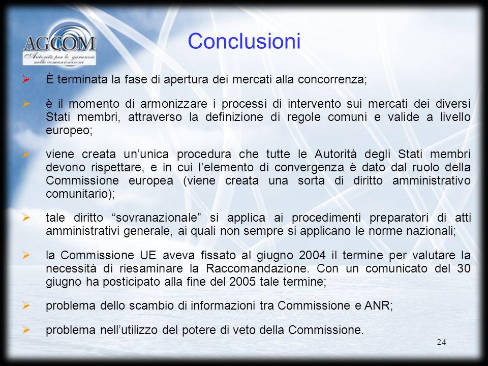 24 Conclusioni È terminata la fase di apertura dei mercati alla concorrenza; è il momento di armonizzare i processi di intervento sui mercati dei diversi Stati membri, attraverso la definizione di regole comuni e valide a livello europeo; viene creata ununica procedura che tutte le Autorità degli Stati membri devono rispettare, e in cui lelemento di convergenza è dato dal ruolo della Commissione europea (viene creata una sorta di diritto amministrativo comunitario); tale diritto sovranazionale si applica ai procedimenti preparatori di atti amministrativi generale, ai quali non sempre si applicano le norme nazionali; la Commissione UE aveva fissato al giugno 2004 il termine per valutare la necessità di riesaminare la Raccomandazione.