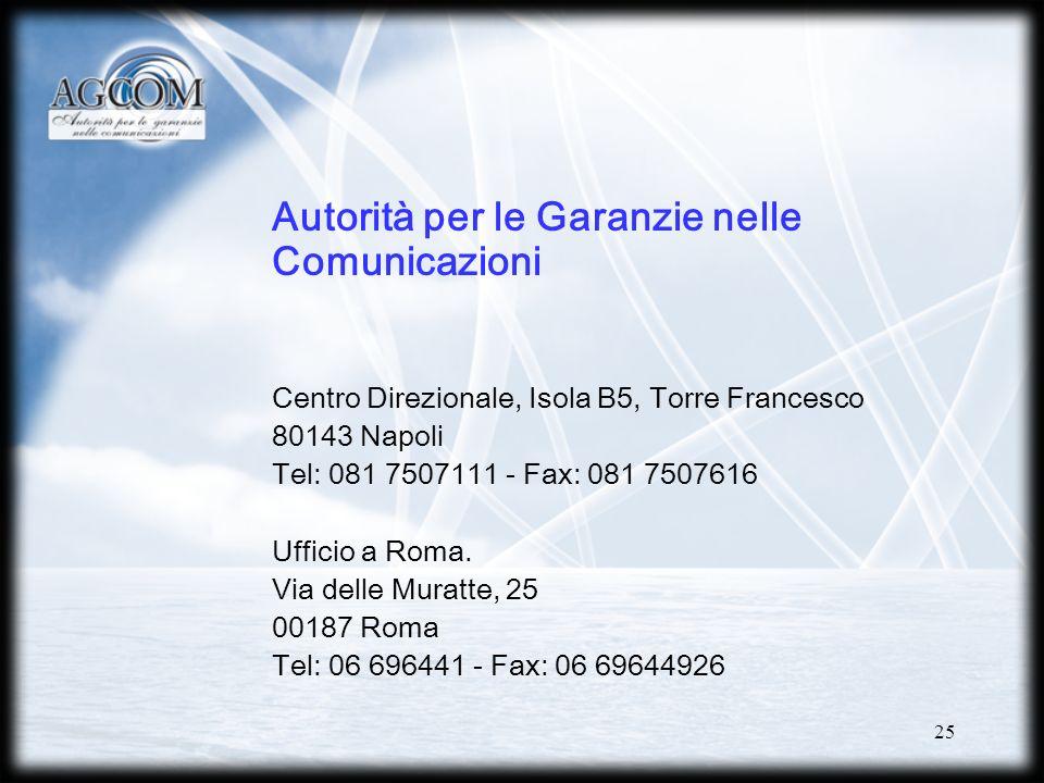 25 Autorità per le Garanzie nelle Comunicazioni Centro Direzionale, Isola B5, Torre Francesco 80143 Napoli Tel: 081 7507111 - Fax: 081 7507616 Ufficio a Roma.