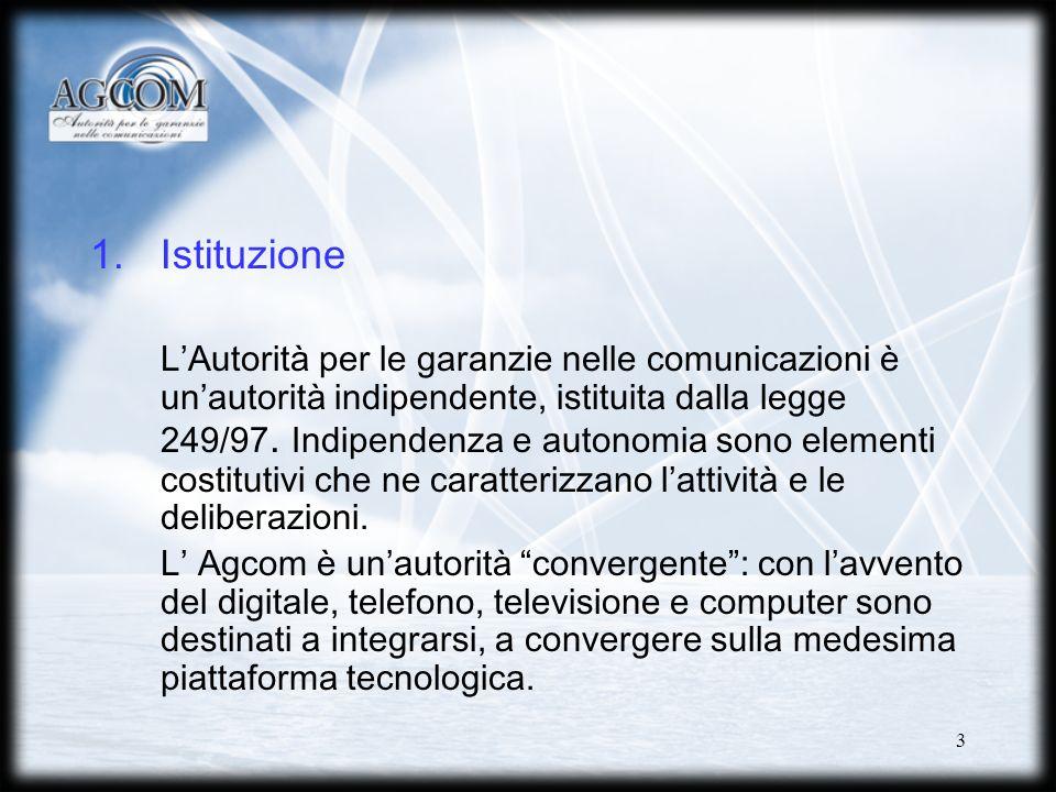 3 1.Istituzione LAutorità per le garanzie nelle comunicazioni è unautorità indipendente, istituita dalla legge 249/97.