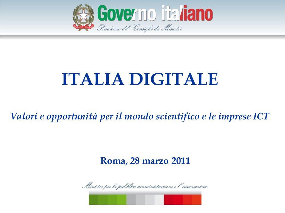 ITALIA DIGITALE Valori e opportunità per il mondo scientifico e le imprese ICT Roma, 28 marzo 2011