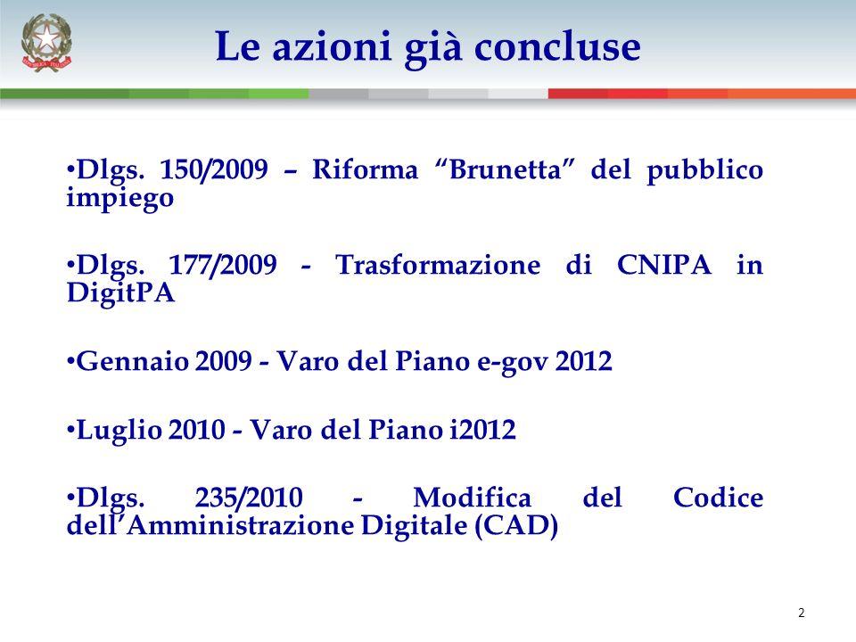 La larga banda fase 1 Dlgs. 150/2009 – Riforma Brunetta del pubblico impiego Dlgs.
