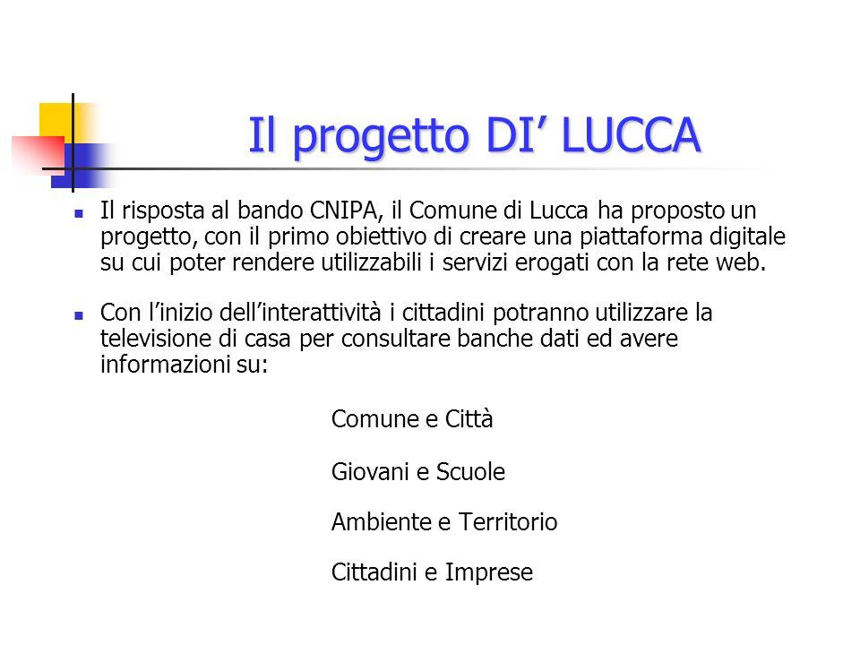 Il progetto DI LUCCA Il risposta al bando CNIPA, il Comune di Lucca ha proposto un progetto, con il primo obiettivo di creare una piattaforma digitale su cui poter rendere utilizzabili i servizi erogati con la rete web.