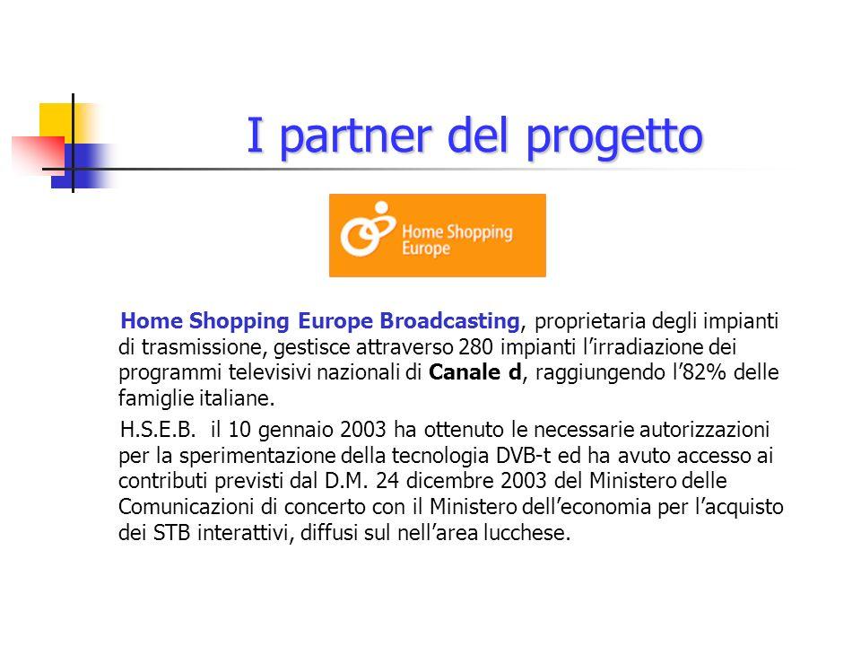 I partner del progetto Home Shopping Europe Broadcasting, proprietaria degli impianti di trasmissione, gestisce attraverso 280 impianti lirradiazione dei programmi televisivi nazionali di Canale d, raggiungendo l82% delle famiglie italiane.