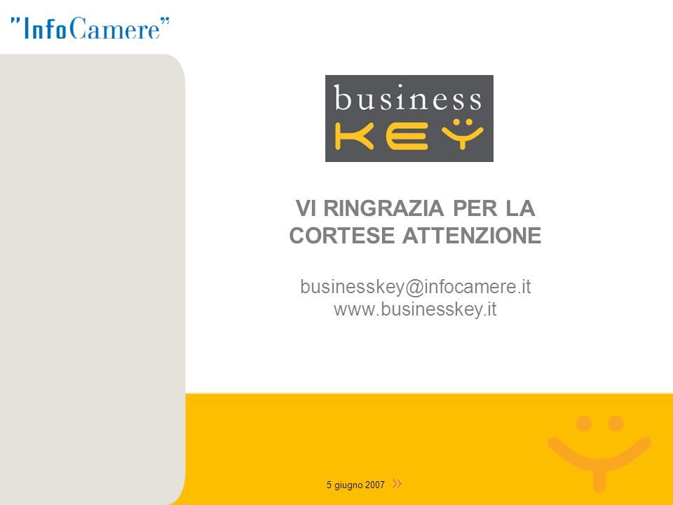 VI RINGRAZIA PER LA CORTESE ATTENZIONE businesskey@infocamere.it www.businesskey.it 5 giugno 2007
