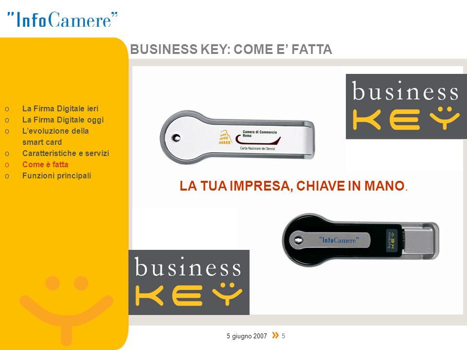 BUSINESS KEY: COME E FATTA 5 giugno 2007 5 oLa Firma Digitale ieri oLa Firma Digitale oggi oLevoluzione della smart card oCaratteristiche e servizi oCome è fatta oFunzioni principali LA TUA IMPRESA, CHIAVE IN MANO.