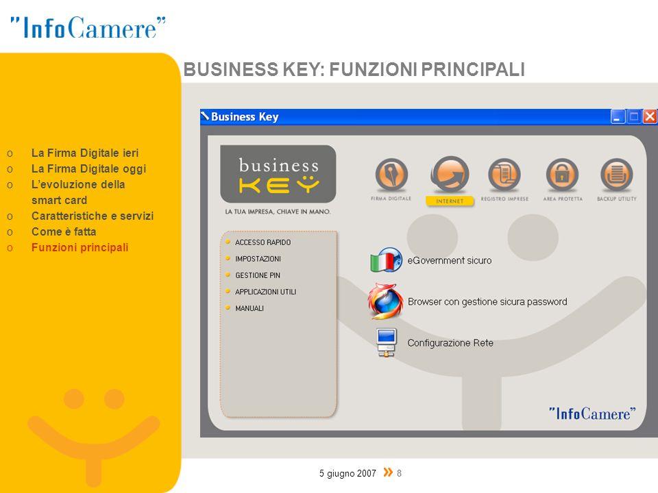 BUSINESS KEY: FUNZIONI PRINCIPALI 5 giugno 2007 8 oLa Firma Digitale ieri oLa Firma Digitale oggi oLevoluzione della smart card oCaratteristiche e servizi oCome è fatta oFunzioni principali