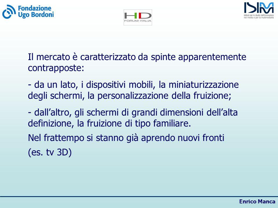Enrico Manca Il mercato è caratterizzato da spinte apparentemente contrapposte: - da un lato, i dispositivi mobili, la miniaturizzazione degli schermi, la personalizzazione della fruizione; - dallaltro, gli schermi di grandi dimensioni dellalta definizione, la fruizione di tipo familiare.