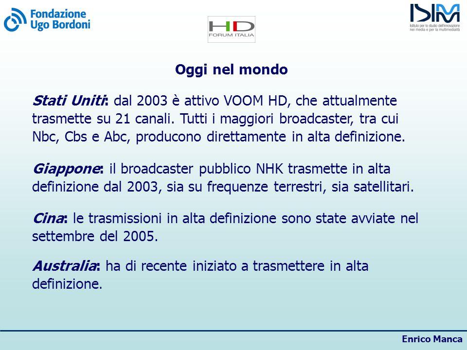Enrico Manca Oggi in Europa Nel 2008 saranno 4 mln le famiglie europee che accederanno allalta definizione (dati Ebu); nel 2015 dovrebbero raggiungere i 92 mln (dati Euroconsult/NPA-Conseil).